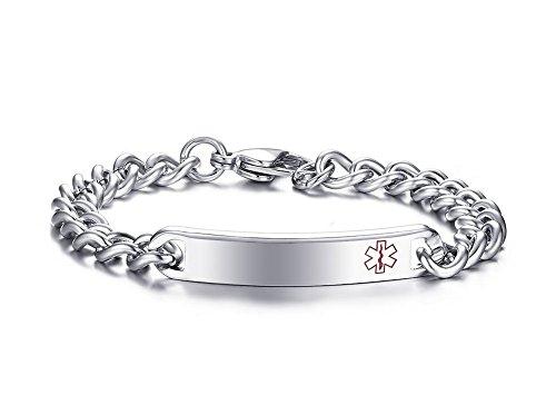 VNOX Stainless Emergency Bracelet Engraving product image