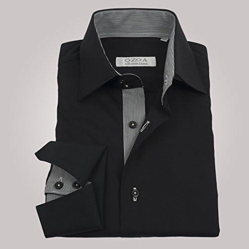 ozoa – Camisa para hombre negro interior de rayas blancas y ...