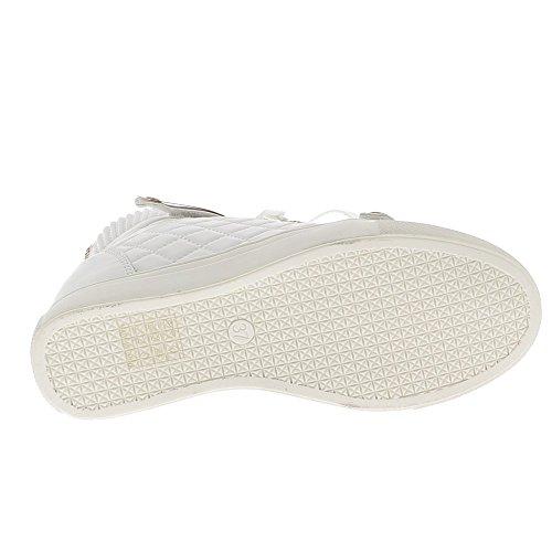 Baskets compensées montantes blanches matelassées à talon de 7cm