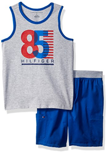 Tommy Hilfiger Toddler Boys' 2 Pieces Tank Shorts Set, Gray/Blue, 3T