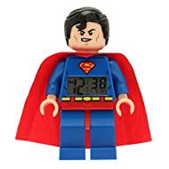 LEGO DC Comics 9005701 Super Heroes Superman Kids Minifigure Light Up Alarm Clock | blue/red | plastic | 9.5 inches tall | LCD display | boy girl | official