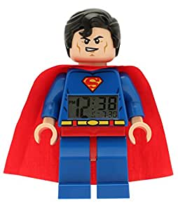 LEGO DC Comics Super Heroes Superman Kids Minifigure Light Up Alarm Clock   blue/red   plastic   9.5 inches tall   LCD display   boy girl   official