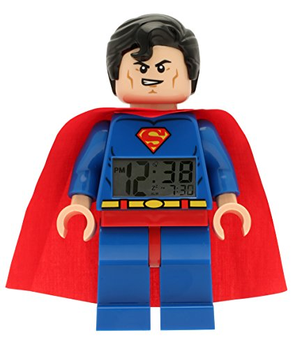 01 Super Heroes Superman Kids Minifigure Light Up Alarm Clock | blue/red | plastic | 9.5 inches tall | LCD display | boy girl | official ()
