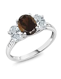 10K White Gold Diamond Accent Brown Smoky Quartz 3-Stone Ring 2.06 Ct, Available in size (5,6,7,8,9)
