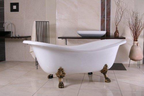 Independiente de lujo de baño de Nouveau Paris Blanco / Oro Viejo 1880mm - baño barroco