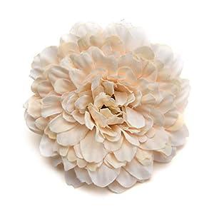 Fake flower heads in bulk wholesale for Crafts Silk Handmake Artificial Flowers Head Wedding Decoration DIY Party Home Decor Wreath Gift Box Scrapbooking Craft Fake Flowers 15pcs 6.5cm (Milk White) 14