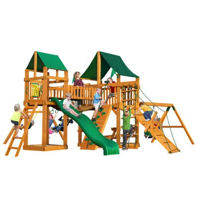 Gorillaplay Sets Home Backyard Playground Pioneer Peak Swing Set with Amber Posts and Sunbrella Canvas Forest Green Canopy
