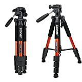 ZOMEI 55 Compact Light Weight Travel Portable Folding SLR Camera Tripod for Canon Nikon Sony DSLR Camera with Carry Case(orange)