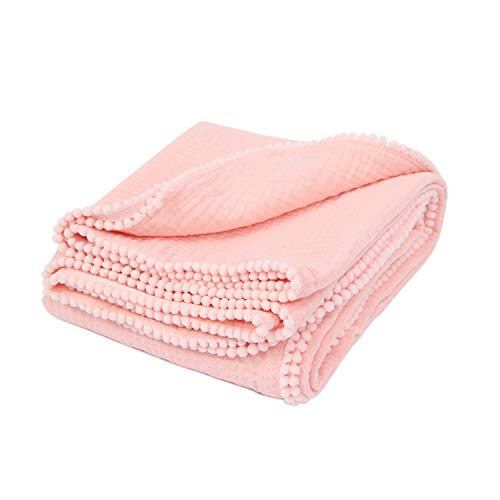 - TILLYOU 2-Layer Ultra Soft Muslin Swaddle Blanket with Pom Pom Trim, 100% Premium Cotton Baby Blanket for Newborns, Breathable Lightweight Plush Swaddling/Cuddling Blanket, Peach Pink, 47x47