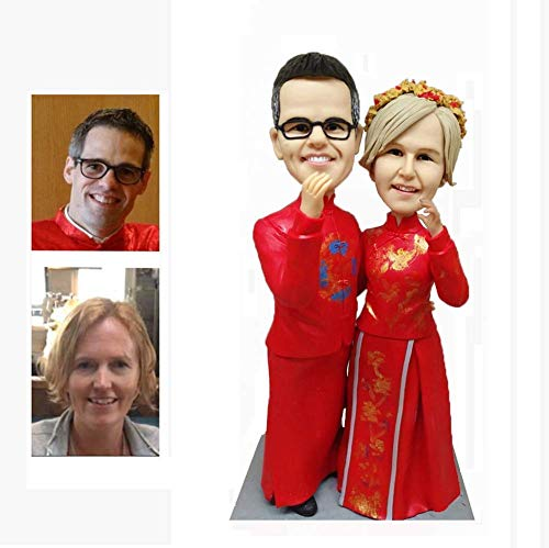 Fully Custom Bobblehead Figurine Chinese style Personalized Gifts Based on Your Photos, Two people, DHL Expedited Shipping Service (2 Custom Bobble Head)