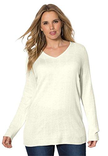 Roamans Women's Plus Size Fine Gauge V-Neck Sweater – 1X, Ivory