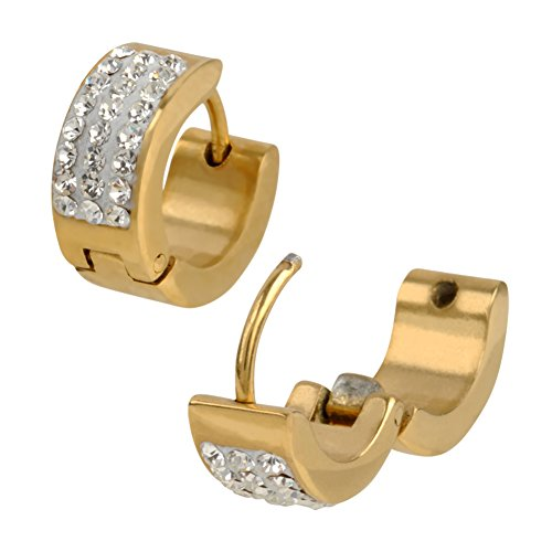 INOX 316L Stainless Steel Gold Tone Wide Huggie Hoop Earrings With Clear Pave Set (Gold Tone Huggie Earrings)