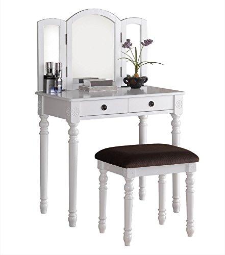 Poundex F4159 Bobkona Tania Tri-fold Mirror Vanity Set with Stool, White