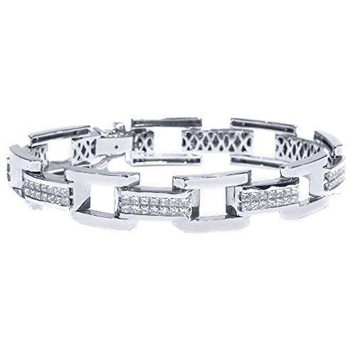 18k White Gold Mens Square Cut Invisible Diamond Bracelet 7.80 Carats