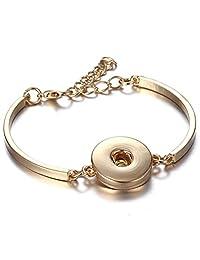 mymate Snap Jewelry Silver 18mm Snap Buttons Bracelet Flowers Carved Vintage Snap Bracelets Women Men
