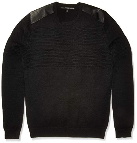 GUESS Men's Long Sleeve Honeycomb Stitch Sweater, Jet Black a -
