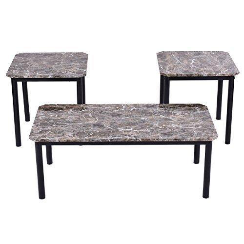 ble-Look Top Coffee and Ende Table Set Living Room Furniture Decor ()