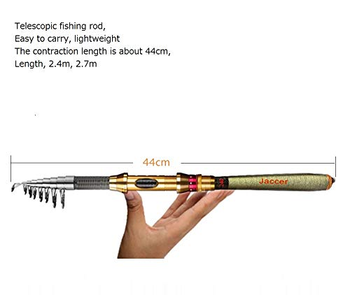 jaccer Fishing Rod Telescopic Fishing sea Rod Short Paragraph Carbon Material sea Otter Throwing Fishing Rod 2.1m 2.4m 2.7 m 3.0m