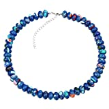 Blue Synthetic Turquoise Rondelle Beaded Necklace