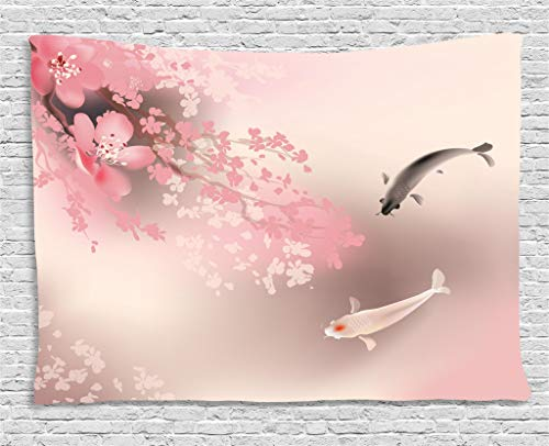 - Lunarable Koi Fish Tapestry, Sakura Blossom in Japan with Creature Culture Nature Orient, Wide Wall Hanging for Bedroom Living Room Dorm, 80