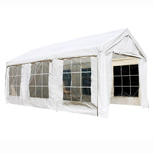 ALEKO CPWT1020 10 x 20 Outdoor Event Gazebo Canopy Tent with Sidewalls and Windows, White color
