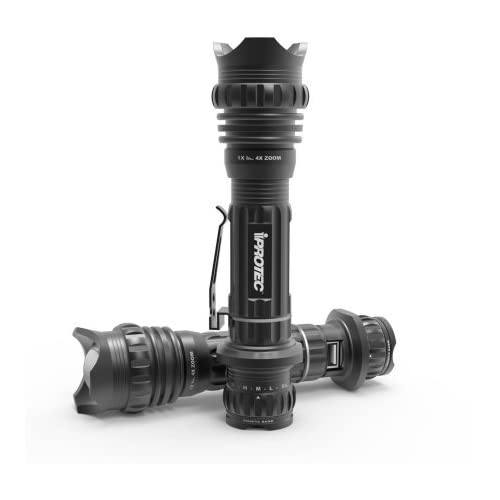 iProtec RC 380 Tactical Rechargeable Flashlight, Water and Impact Resistant, with Power Bank for USB Powered Devices, Charging Indicator and with AC and USB Cables Included - Black