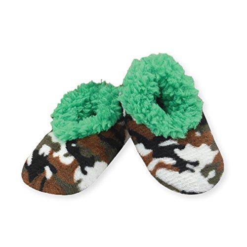 Snoozies Baby Camo Plush Sherpa Cozy Slipper Socks - Green, Medium 3-6 ()