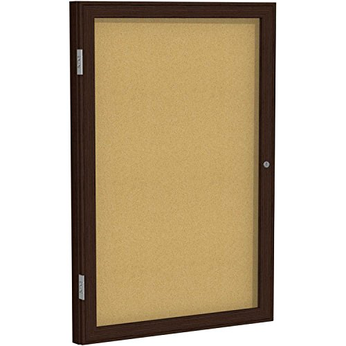 1 Door Enclosed Natural - Ghent 1 Door Wood Frame Walnut Finish Enclosed Bulletin Board 36