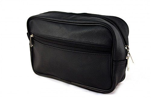 Bilson Cosmetic Bag Genuine Black Grained Leather - Multifunctional Water Resistant Travel Toiletry Bag For Men or Women by Bilson