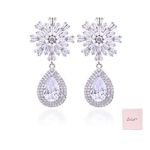 Ovlist 925 Sterling Silver-Plated Snowflake Cubic Zirconia Dangle Earrings for Mom Gift Wedding Bridasmaids