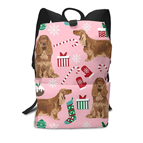 - Cocker Spaniel With Tail Christmas Holidays Candycanes Middle School Backpack For Teen Large Casual Durable Daypack Travel Rucksack