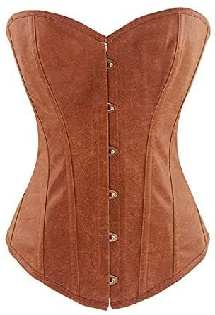 Alivila.Y Fashion Womens Sexy Steampunk Gothic Faux Leather Boned Corset 2340A-Brown-M