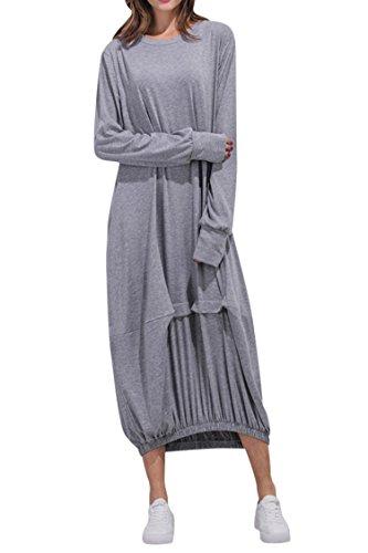 Pink Queen Boho Long Sleeve Caftan Color Block Casual Loose Long Maxi Dress, Light Gray,Small - Long Sleeve Caftan Dress