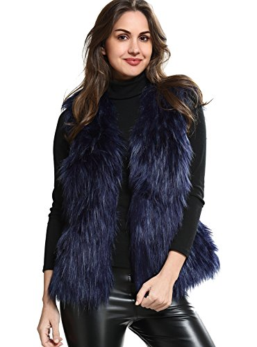 Woman%27s+Soft+Sleeveless+Faux+Fur+Vest+Gradient+Blue+Waistcoat+Jacket+One+size
