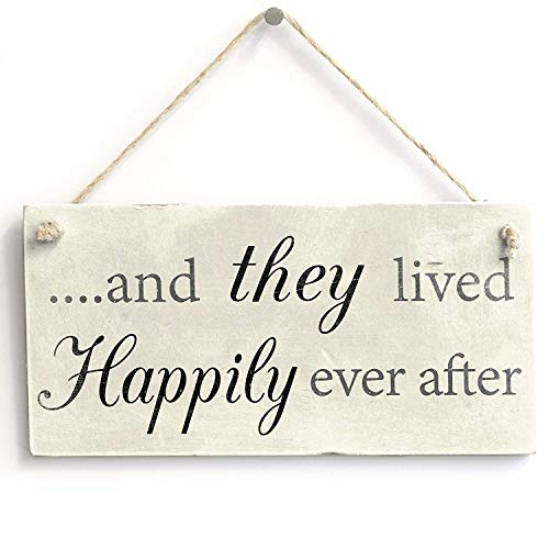 and They Lived Happily Ever After Wood Decor Rustic Plaque Wooden Wall Sign Art Graphic Home Decoration Picture Poster Kitchen Bathroom Wedding