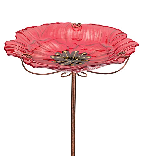 Regal Art & Gift Poppy 12 inches x 12 inches x 25 inches Metal Glass Birdbath Feeder Stake - Feeder Accessories ()