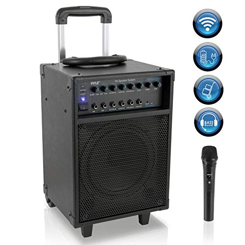 "Wireless Portable PA Speaker System - 400W Bluetooth Compatible Rechargeable Battery Powered Outdoor Sound Stereo Speaker Microphone Set w/ Handle, Wheels - 1/4"" to AUX, RCA Cable - Pyle PWMA230BT"