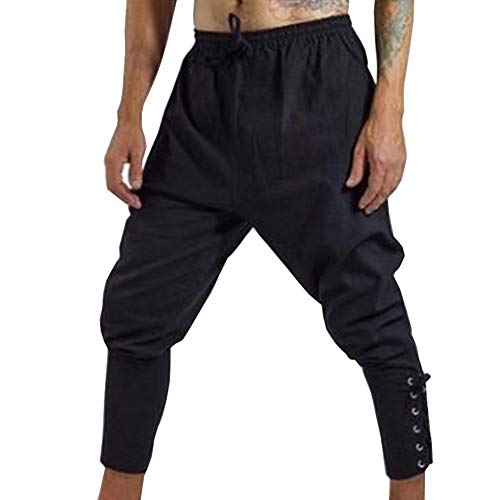 COSFLY Renaissance Medieval Irish Peasant Pirate Costume Men Loose Viking Banded Pants Lace Up Trousers (Large, Black)]()