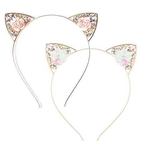 VK Accessories 2 pcs Rose Pink Flower Cat Ear Headband for Women Girls 01 -