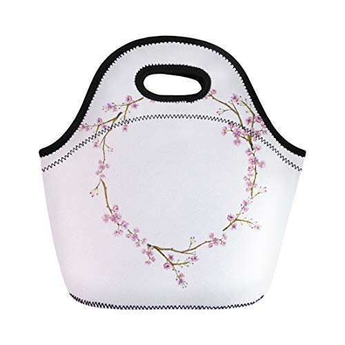 Japan China Silver Wreath - Semtomn Lunch Bags Watercolor Sakura Wreath Natural Round Blossom Cherry Tree Branches Neoprene Lunch Bag Lunchbox Tote Bag Portable Picnic Bag Cooler Bag