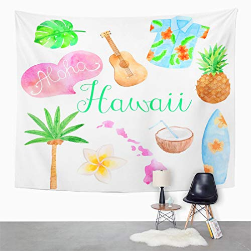 - Semtomn Tapestry Wall Hanging Ukulele Watercolor Hawaii Island Surf Coconut Aloha Cocktail Map 60