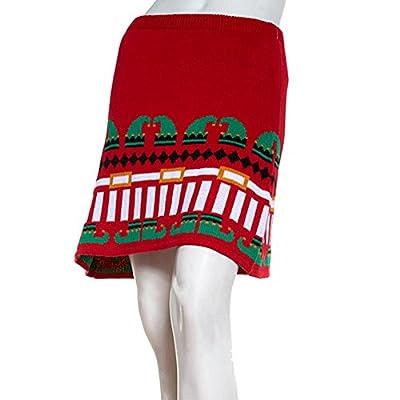 Derek Heart Juniors Holiday Red Knit Skater Skirt Elf