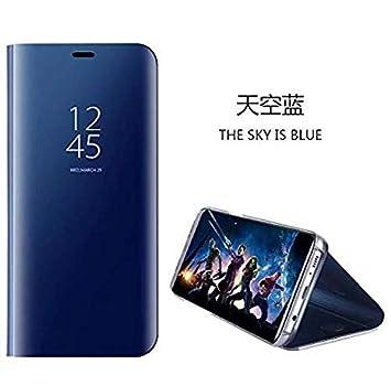 Compatible para Samsung Galaxy J5 Prime/On5 Carcasa 2018/Funda inteligente Fecha/Hora Ver Espejo tirón del caso Soporte Plegable/duro Shell Teléfono ...