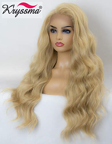 K'ryssma Blonde Lace Front Wig Long Wavy Synthetic Wigs for Women #613 Mixed Light Blonde Lace Wig 24 inches Heat Resistant ()