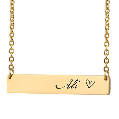 HUAN XUN Ali Name Silver Customized Name Necklace Bar Initial Necklace  Personal Jewelry Birthday Valentine Gift