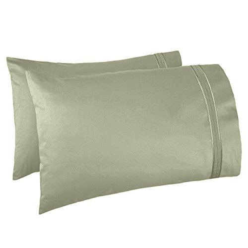 Nestl Bedding Set of 2 Premium Pillowcases – Luxury Super Soft 100% Double Brushed Microfiber, Hypoallergenic & Breathable Design, Soft & Comfortable Hotel Luxury – Standard/Queen - Sage Olive Gre