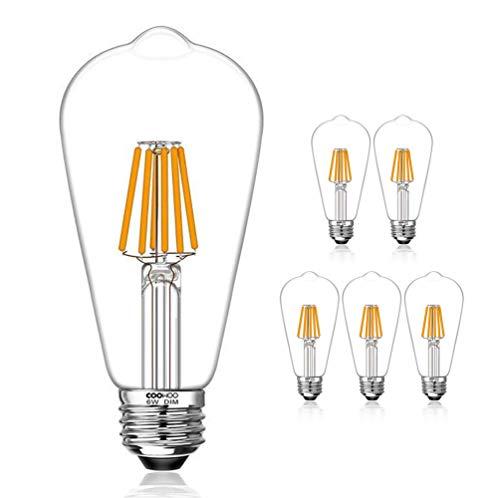 LED Edison Light Bulbs, 60W Equivalent Dimmable E26 Vintage Filament Pendant Light Bulbs, 2200K Warm White 6W UL-Listed Pack of 6 (Pendant Light Lights Bulb)