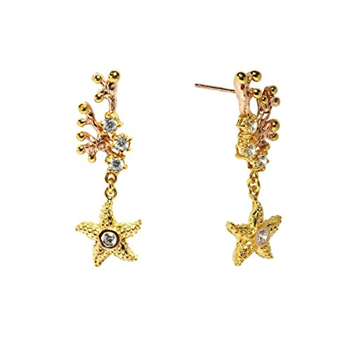 Two Tone Yellow Pink Coral Star Fish White CZ Drop 925 Earring SS0306