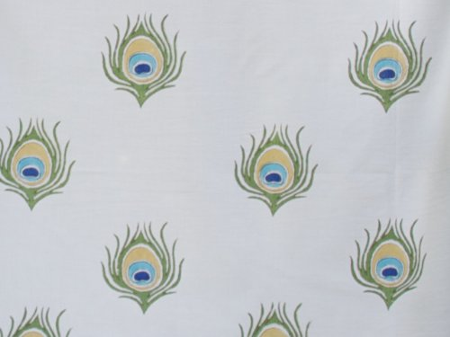 Saffron Marigold – Dance O Peacock – Turquoise, Gold, and Green Nature Inspired Hand Printed – Sheer Cotton Voile Kitchen Curtain Panel – Rod Pocket – (46 x 36)