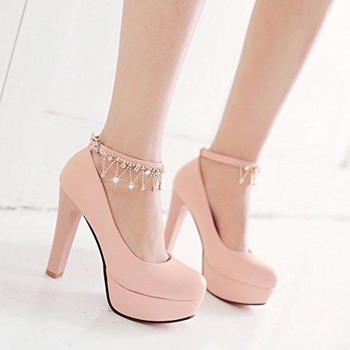 Latasa Womens Ankle Strap Platform High Heels Pumps Pink zkRsqEbX